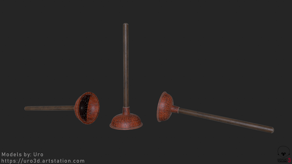 Sink Plunger Wireframe Render